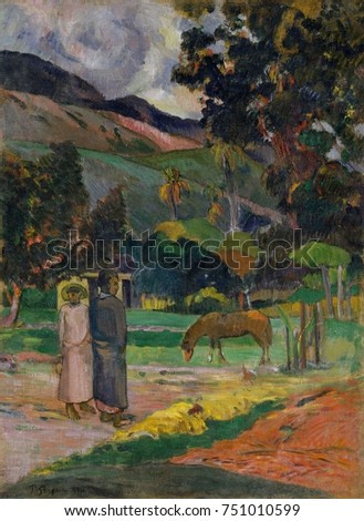 Tahitian Landscape, by Paul Gauguin, 1892, French Post-Impressionist painting, oil on canvas. Gauguin painted this during his first trip to Tahiti, depicting small figures, a horse, and hut in a tropi