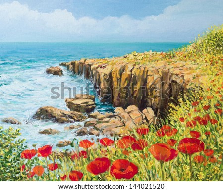 An oil painting on canvas of a coastal summer seascape with a breeze blowing from the sea and vivid red poppies blooming on the cliffs high above the bay with waves rushing toward the shore.