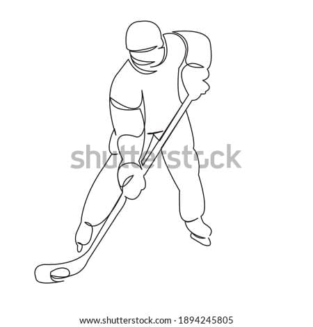 One continuous single drawing line art doodle sport, hockey, people, ice, skate, athlete, puck. Isolated flat illustration hand draw contour on a white background