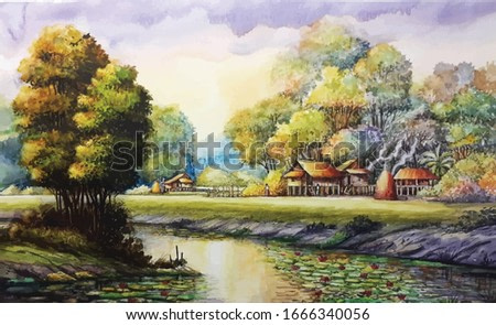 watercolor countryside landscape background. Thailand watercolor painting.