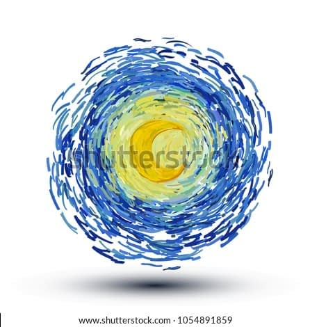 Glowing bright yellow moon on the sky isolated on white background. Vector illustration in the style of impressionist paintings.
