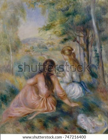In the Meadow, by Auguste Renoir, 1888-92, French impressionist painting, oil on canvas. Two girls as they pick flowers outdoors. He painted them again, dressed similarly, playing the piano