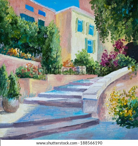 oil painting on canvas - stone stairs in the Greek city, flowers along the road