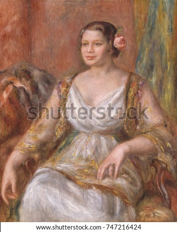 Tilla Durieux, by Auguste Renoir, 1914, French impressionist painting, oil on canvas. Tilla Durieux, a famous German actress traveled to Paris have her portrait painted by Renoir. She wears the costum