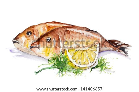 Sea crucian fish fried on the grill with lemon and parsley isolated. Handmade watercolor painting illustration on a white paper art background