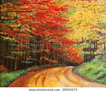 Colorful original oil painting showing a road forest