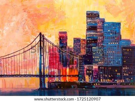 Abstract oil painting, panorama of the city with a bridge.
