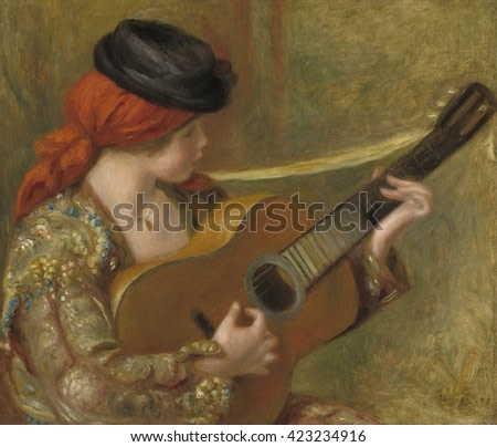 Young Spanish Woman with a Guitar, by Auguste Renoir, 1898, French impressionist painting, oil on canvas. This painting shows Renoir's 1890s adoption of a deeper, richer, saturated palette of Renaiss