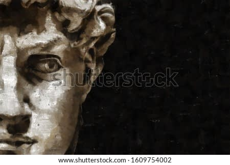 Digital pastel illustration from 3D rendering. Close up of Michelangelo's David head in the style of antique drawings and paintings.