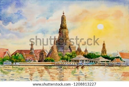 Panorama view. Wat Arun Temple at sunset in bangkok Thailand. Watercolor painting landscape colorful of architecture and river view. Hand drawn illustration great the best known of Thailand landmarks.