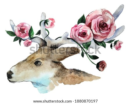realistic cute portrait of a deer with flowers in antlers on a neutral background. watercolor animal illustration