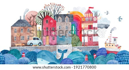 Cute city on an island in the ocean. Sea port. Traveler's postcard. Painting for the children's room. Old town landscape.