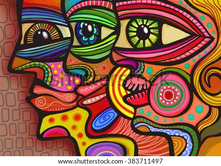 A digitally painted illustration of a group of faces drawn in a colorful folk art style.