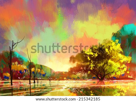 digital painting of a beautiful lake,colorful sky,landscape illustration