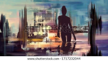Colorful abstract seascape oil painting. Silhouette of woman, surreal landscape artwork in contemporary style. Modern fantasy art, beautiful scenery illustration.