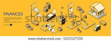 Financial analysis, investments and business consulting company, online banking and accounting service isometric vector horizontal web banner or poster with mobile digital payments line art concept