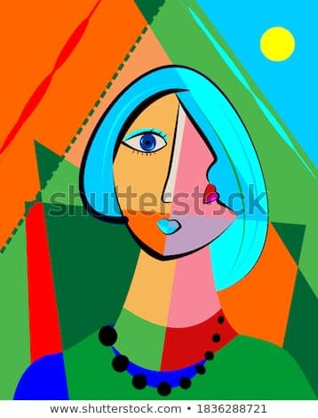 Colorful abstract background, cubism art style,portrait of girl with blue hair