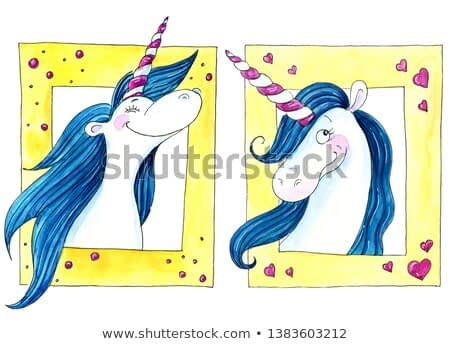 Watercolor illustration of two happy unicorns with blue mane in yellow photo frames