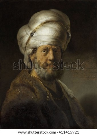 Man in Oriental Dress, by Rembrandt van Rijn, 1635, Dutch painting, oil on panel. Rembrandt used dramatic light and shadow contrast when painting the exotic 'Turkish tronie', a popular stock characte