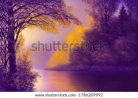 Painting of trees with river in forest in fall season, nature in autumn landscape image.Digital  illustration.