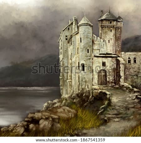 Oil paintings landscape, old castle in the morning. Fine art.