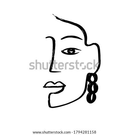 Minimal abstract cubism face. Linear abstract face. Minimalist avatar of man or woman. Continuous line drawing. Design for home decor.