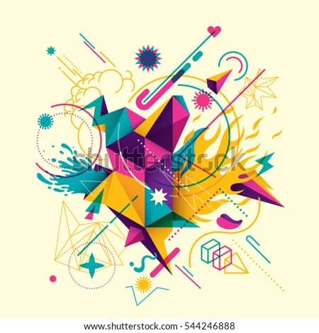 Colorful abstract style composition with group of various objects and shapes. Vector illustration.