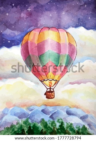 picture of a balloon against the background of the night sky, art for the interior, background, wallpaper and prints