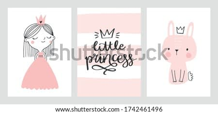Little princess baby cards, nursery posters, baby shower invitations. Cute princess, bunny, hand drawn lettering. Scandinavian vector illustration for prints, cards, apparel.