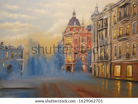 Oil paintings landscape, old houses in city. Fine art