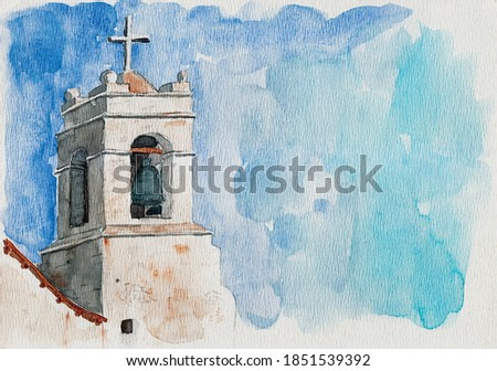 Small church belfry with bell and cross in San Pedro de Atacama. A cute tourist village on the Andean highland in northern Chile. Watercolor painting.