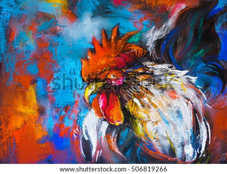 Original pastel painting of a colorful rooster on a cardboard.