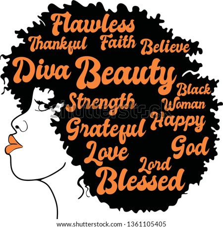 Beauty afro woman with words vector, Flawless