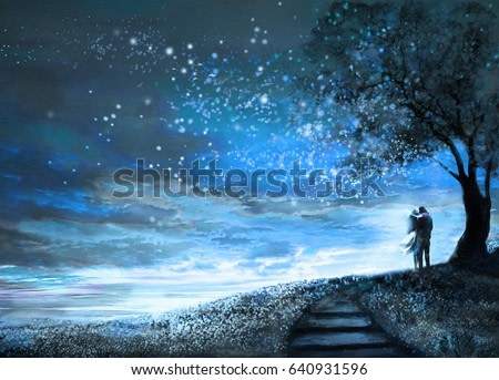 Fantasy illustration with night sky and Milky Way, stars.  woman and man under an tree looking at the space landscape. Painting.