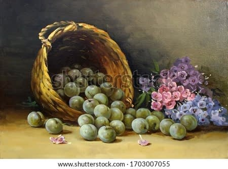 juicy, ripe plums in a basket and phlox,oil painting, fine art, still life, background, fruit, flowers, summer