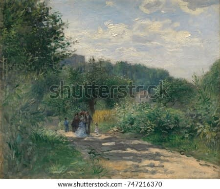 A Road in Louveciennes, by Auguste Renoir, 1870, French impressionist painting, oil on canvas. This early impressionist landscape has rich fresh greens painted with rhythmically active brushwork
