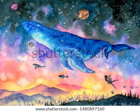 Watercolor Painting - Whale diving into fantasy space