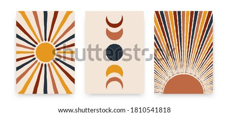 Abstract sun moon posters. Contemporary backgrounds, set of covers modern boho style. Mid century wall decor, vector art print.