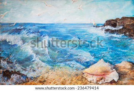 oil painting, seascape, waves, sea