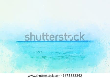 Abstract colorful soft wave ocean sea at Phuket, Thailand on watercolor illustration painting background.