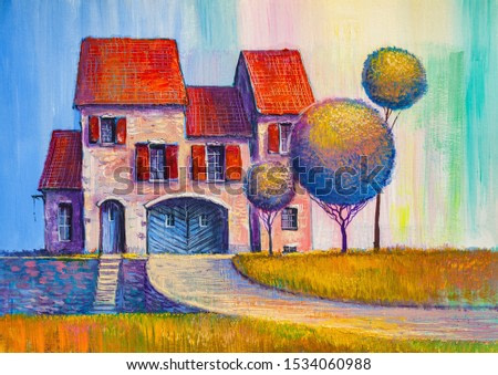 Beautiful country house. Summer warm landscape. Original oil painting.