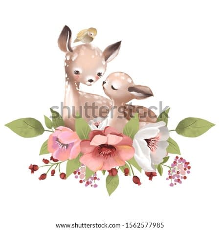 Cute mother deer with a baby deer, flowers and bird watercolor illustration