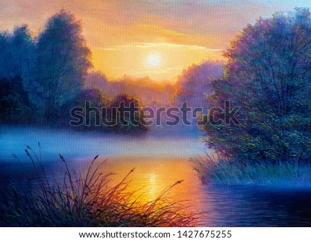 Foggy morning on a river. Oil painting landscape.