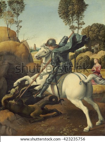Saint George and the Dragon, by Raphael, c. 1506, Italian Renaissance painting, oil on panel. George was patron saint of England. Raphael was commissioned to create this as a gift for the envoy of th
