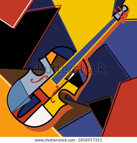 Modern cubist style handmade drawing of cello. Jazz music in retro geometric abstraction style. Classical music instrument theme. Vector art design illustration