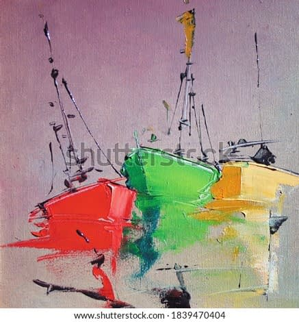 Tree colorful red,green and yellow boats,oil painting on canvas.