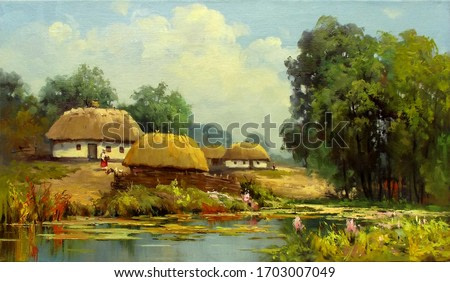 summer landscape with rural houses near the river,oil painting, fine art, village, sunny day, rural landscape, architecture, water, summer