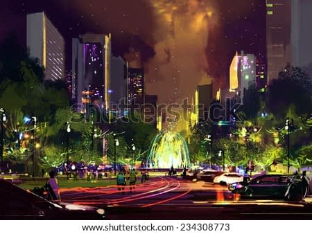 digital painting of bright color fountain in the park at night,illustration