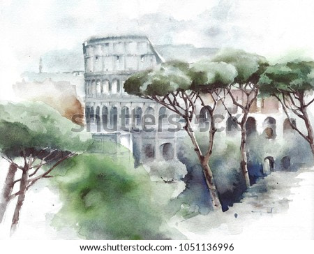 Italy landmark Rome Colosseum landscape with pines watercolor painting illustration
