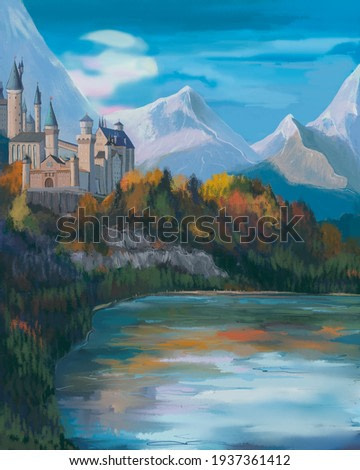 Drawing of a fantasy Castle by the lake against the background of snow-white mountains. The atmosphere is magical.